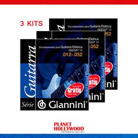 Encordoamento Guitarra Giannini Nickel 012   Kit Com 3 Jogos