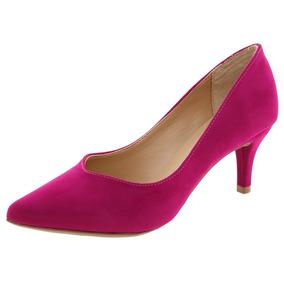 Sapato Feminino Scarpin Salto Baixo Pink Mixage - 3548940