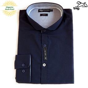 Camisa Masculina Tng - Slim Lisa - Azul Marinho