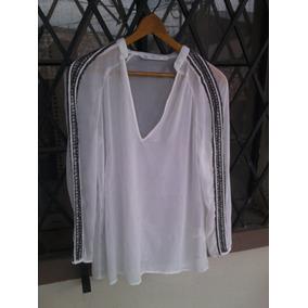 Blusa Zara Blanca Con Bordado.