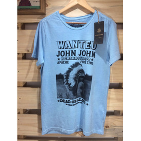 Camiseta Tshirt Blusa John John Azul Estampada Frete Grátis