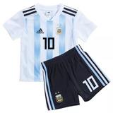Kit Camiseta Short Argentina Messi Niño Kid Nene 2018 Orig