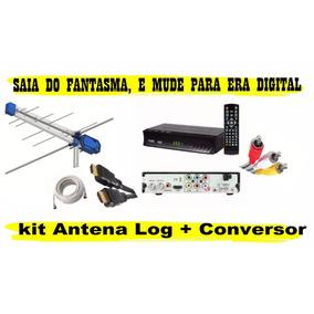 Kit Conversor Digital Top Vision + Antena Externa + Cabo 12m