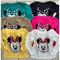 Blusa Tricot Minnie Disney Feminino Pronta Entrega