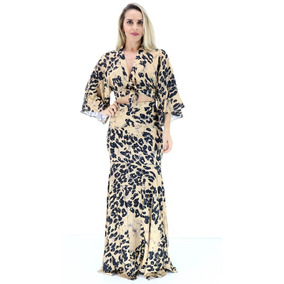 Vestido Lança Perfume Longo Estampado Onça I17