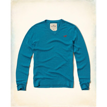Hollister Sueter Cuello V Color Turqueza Talla M Originales