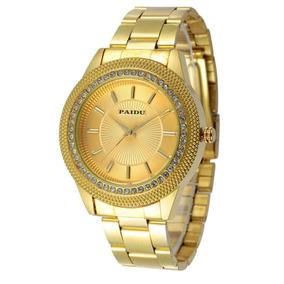 Bestcrew Us Mens Relojes Oro Diamantes Línea Acero Oro Cuarz