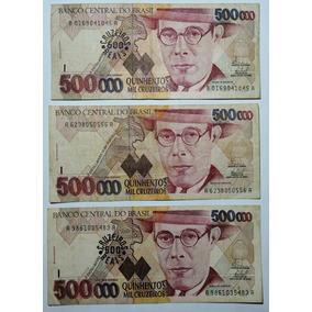 Lote 3 Cédulas Cr$ 500.000,00 - Quinhentos Mil Cruzeiros