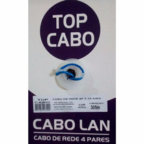 Cabo Rede Cftv 4 Pares 8 Vias Cat5 Top Lan Azul Caixa 305mts