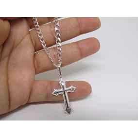 Corrente Italiana Prata 925 Maciça Masculina 70cm+ Crucifixo