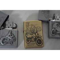 Isqueiro A Fluido Motos Bronze E Aço Escovado Binga Show