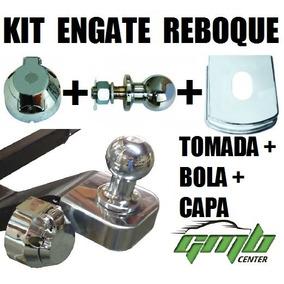 Kit Engate Tomada 6 Polos Capa Inox 95mm Bola Carretinha