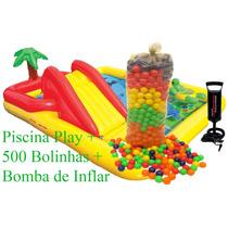 Piscina Inflável Playground Oceano + 500 Bolinhas + Bomba Ar