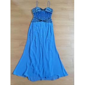 Vestido Fino Azul Bordado Lindissimo Festas Madrinha #35