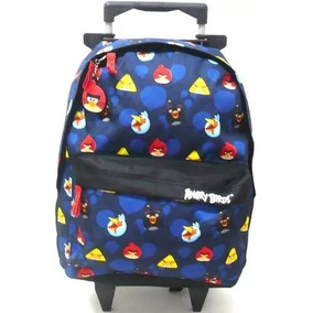 Mochila Angry Birds Escolar Rodinhas E Alças Tam G Azul