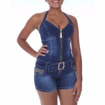 Macaquinho Jeans Sawary Com Elastano E Bojos Busto;bumbum