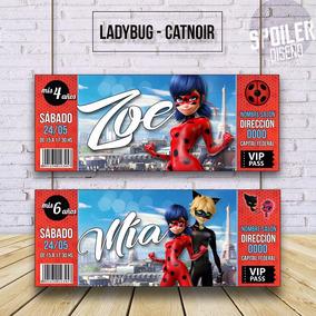 Invitaciones / Tarjetas De Cumpleaños - Ladybug / Cat Noir