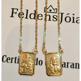 07d1b2e921a3b Escapulario Ouro 18k Dupla Face - Colar no Mercado Livre Brasil
