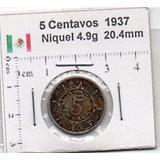 Cinco Centavos 1937 Sol Azteca Mx5 9