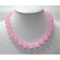 Collar De Jade Rosa Genuino Con Broche De Plata 170 Quilates