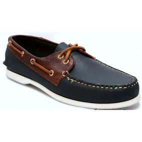 Zapato De Piel Top Sailer Modelo 102 Marino / Red Brown