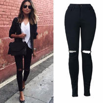 Calça Jeans Cintura Alta Lycra Rasgada Hot Pants Feminina