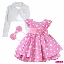 Vestido Minnie Rosa Festa Infantil Chique Com Bolero E Tiara
