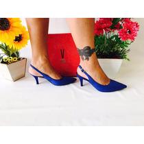 Sapato Feminino Scapin Vizzano Azul Roial Camurça