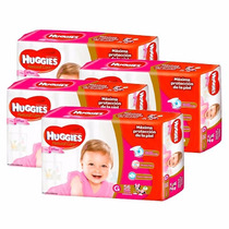 4 Pañales Huggies Natural Care P/ellas Superpack G 56u