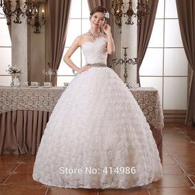 Hermoso Vestido De Novia Blanco Con Pedreria Princess Encaje