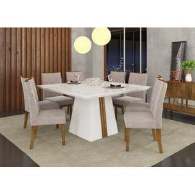 Mesa Itália Com Tampo Chanfrado Com Vidro + 8 Cadeiras - Dj