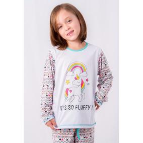 Pijama Unicornio Infantil Feminino Inverno 2017 Com Calça