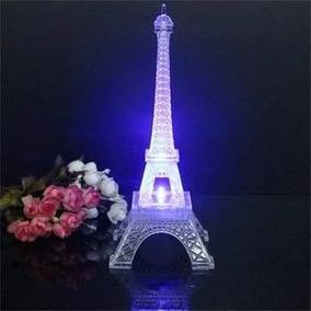 Torre Eiffel Paris Acílico Con Luz Led 25 Cm Recuerdos Boda