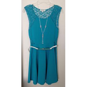 Vestido Casual Linea A Azul Aqua Con Cinturon Blanco