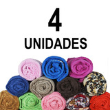 Kit 4 Cobertor Manta Casal Cama Microfibra Grossa Sortido