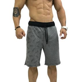 1 Bermuda Moletinho Estampada Masculina Shorts Treino Fitnes