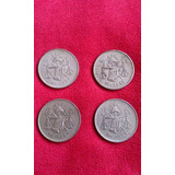 4 Monedas 25 Centavos De Plata Antiguas Balanza De Coleccion