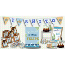 Candy Bar Nautico Marino Para 20 Invitación+banderin+cartel