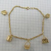 7919 Pulseira 21 Cm De Ouro 18k 750 Com Berloques