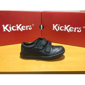 Zapato Kicker Colegial Casual Negro De Niño, Talla 28 Al 40