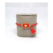 Pulsera Escapulario Roja Con Dije
