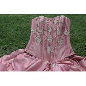 Vestido Xv`s Color Palo De Rosa Y Dorado