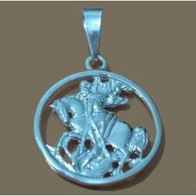 Medalha São Jorge Média De Prata 950 Muito Barato