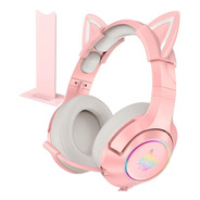 Audifonos + Base Gamer Onikuma K9 Rosado Pink Orejas Gato Pc