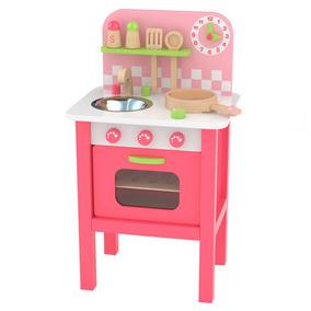 Set De Cocina Para Niños Rosa En Madera Con Accesorios