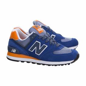 new balance 574 azul y naranja