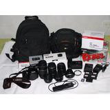 Camara Canon Eos T3 + 4 Lentes + 5 Baterias Accesorios 16gb
