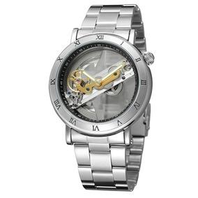 Reloj Original Forsining Mecánico Automático Plata Skeleton
