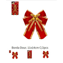 Laço Natal Vermelho Borda Dour. 10x12,5cm Com 2 Lacos 251-0