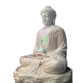 Fonte Buda P/ Decoração Jardim 90cm - Marmorite - Luz Led
